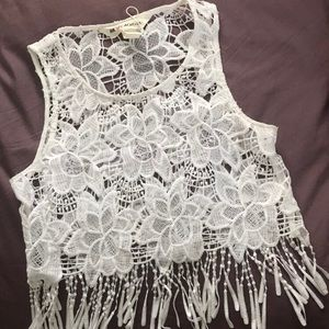Lace/Sheer White Festival Crop Top